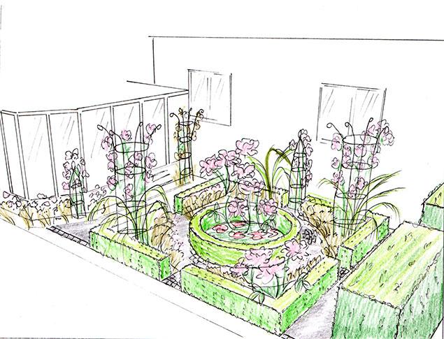 Liten engelsk rosenträdgård med korsgång
