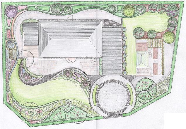 Ny trädgårdsdesign för 70-tals villa